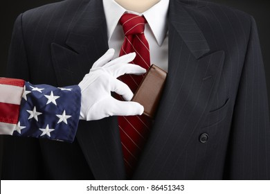 Close up shot of Uncle Sam picking the pocket of a businessman