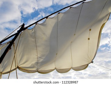 A close up shot of an unfurled sail from a traditional sailing dhow on Lake Malawi, Southern Africa