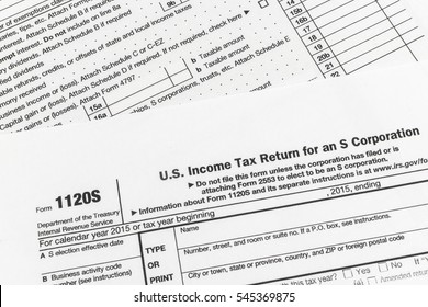 Close up shot of United States Internal Revenue Service (IRS) tax return form 1120S for small corporations also known as S-Corps.