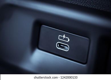 Close up shot of an USB Type C plug charging socket.