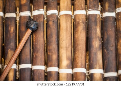 Close up shot of a very old xylophone.