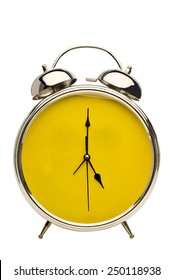 Close Up Shot Vintage Alarm Clock With Yellow Face