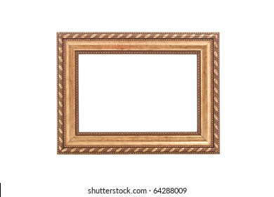 close up shot of vintage golden frame isolated on white