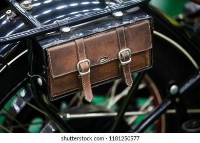 Close up shot of a vintage motorcycle leather saddle bag.