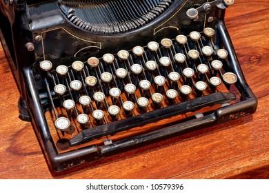 Close up shot of vintage typewriter angle