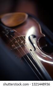 Close up shot of a vintage violin.