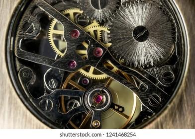 Close up shot of a watch mechanism