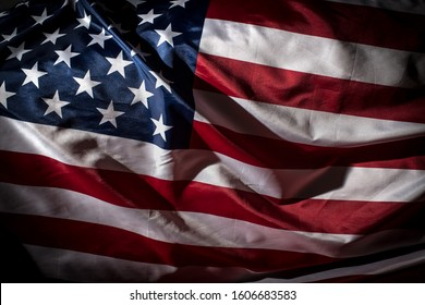 Close up shot of waved flag of United States of America