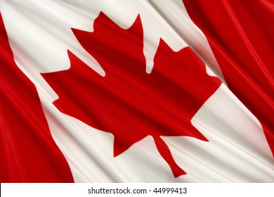 Close up shot of wavy Canadian flag