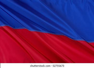 Close up shot of wavy Civic flag of Haiti