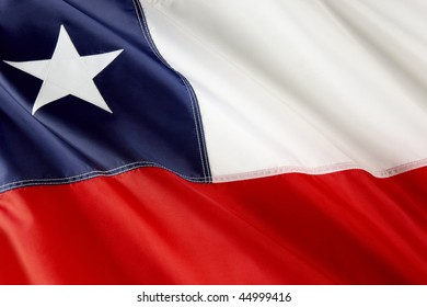 Close up shot of wavy flag of Chile