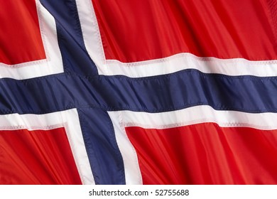 Close up shot of wavy flag of Norway