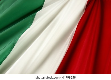 Close up shot of wavy Italian flag