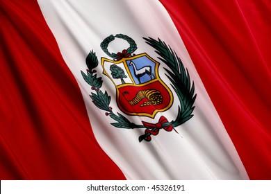Close up shot of wavy Peruvian flag