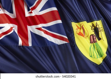 Close up shot of wavy Turks and Caicos flag