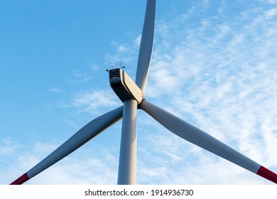 Close up shot of wind turbine. Clean and renewable energy concept.