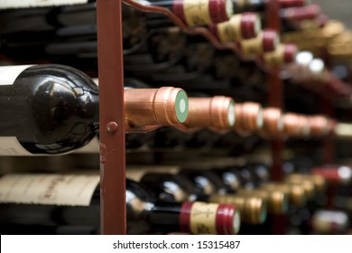 close up shot of a wine cellar