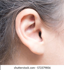 close up shot of woman ear