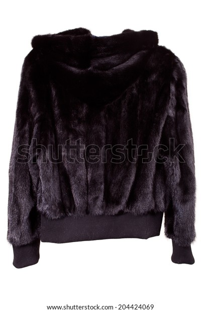 close up shot of woman fur coat isolated on white