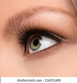 Close up shot of a woman's eye with long lashes