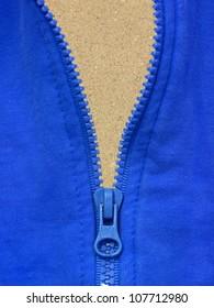 A close up shot of a zipper