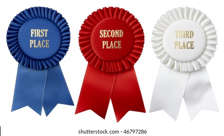 Close up shots of first, second and third place ribbons shot on white background