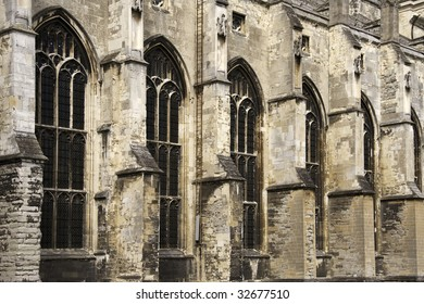 Close up of the side of Canterbury Cathedral