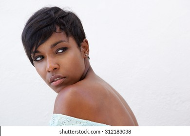 Close up side portrait of an elegant african american woman