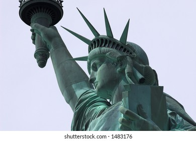 Close side portrait of the statue of liberty