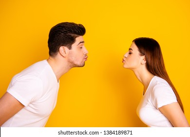 Close up side profile photo amazing beautiful she her he him his guy lady bonding ahead each other need kisses tenderness spread lips wear casual white t-shirts outfit isolated yellow background
