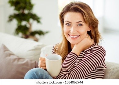 Close up side profile photo beautiful amazing she her lady calm kindhearted hold hot warm beverage hands arms wear striped pullover clothes sit comfort cozy divan flat house living room indoors