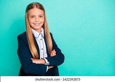 Close up side profile photo beautiful she her little lady pretty hairdo like studying school weekend vacation mood wear formalwear shirt blazer school form isolated bright teal turquoise background