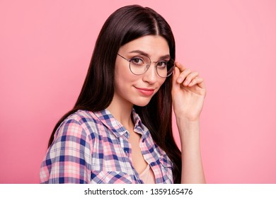 Close up side profile photo funky funny beautiful her she lady hold arm hand cool specs look sincerely kindhearted wear casual checkered plaid shirt clothes outfit isolated pink background