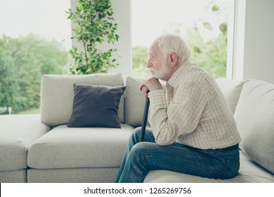 Close up side profile photo of grey hair he his him grandpa leaning with grief on walking stick looking straight oldness in mind casual checkered shirt jeans denim indoors sitting on cozy divan