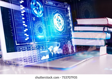 Close up and side view of laptop and books with digital business hologram. Innovation and education concept. Double exposure