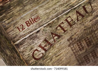 Close up of a sign on a wooden wine box