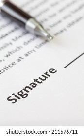 close - up signature space on contract document