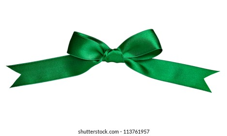 close up of  a silk ribbon knot on white background with clipping path