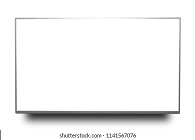 Close up silver 4k monitor or television isolated on white background with clipping path.