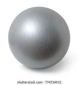 Close up of an silver fitness ball isolated on white background