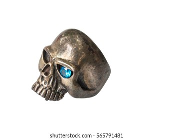 Close up : Silver Human Skull Ring with Blue Jewelry on the Eye Isolated on White Background