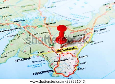 Ukraine And Russia Map.Close Simferopol Ukraine Russia Map Red Stock Photo Edit Now