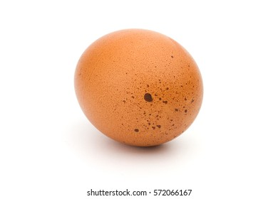 Close up Single brown chicken egg isolated on white background with clipping path
