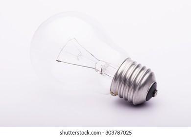 Close up Single Bulb on white background