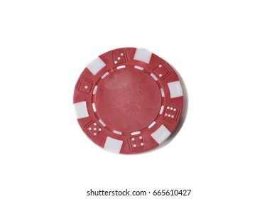 Close up of a single red gaming chip isolated against a white background