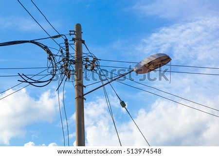 close single street lamp post pole stock photo (edit now) 513974548close up of single street lamp post pole with electric cables connection on cloudy blue morning