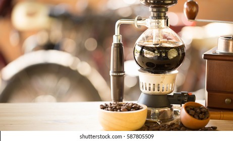 close up of siphon vacuum coffee maker at shop