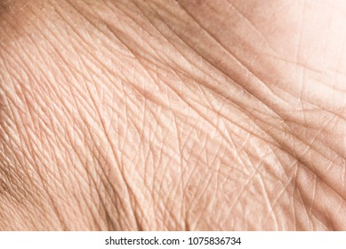 Close up skin texture with wrinkles on body human