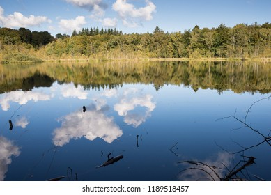 close to Skodsborg in Denmark in autumn with calm water and clear sky