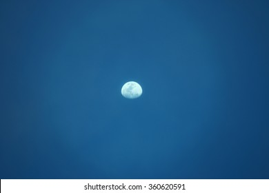 close up sky and moon in evening
